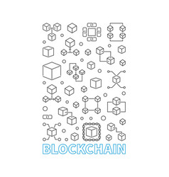 blockchain modern vertical poster in thin vector image