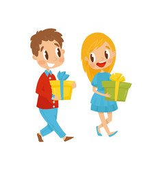 boy and girl with gift boxes going to party vector image