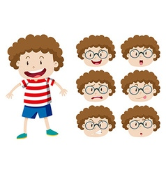Boy with curly hair and many expressions vector