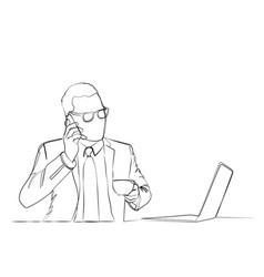 businessman is using a computer vector image