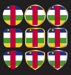 Car flag icon set with gold and silver border vector