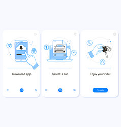 Car rental service onboarding mobile app page vector