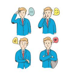 cartoon set businessman character in acting vector image