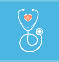 cartoon silhouette white stethoscope with heart vector image