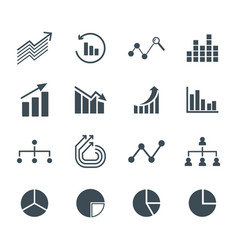 Charts and graphs flat and line icons set vector