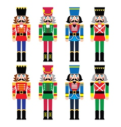 Christmas nutcracker - soldier figurine icons set vector