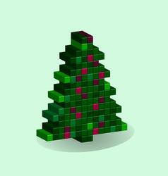 christmas tree in style 3d pixel art ny vector image