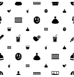 Cold icons pattern seamless white background vector