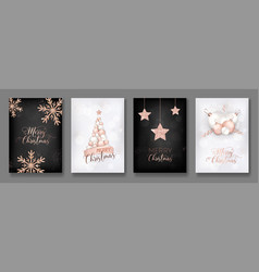 Collection of elegant merry christmas cards vector