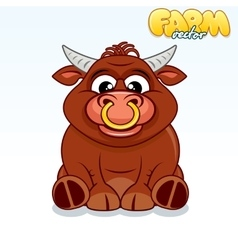 Cute Cartoon Bull vector image