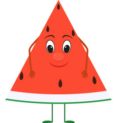 cute cartoon watermelon with face vector image vector image