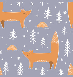 cute foxes winter forest and croissants cozy vector image