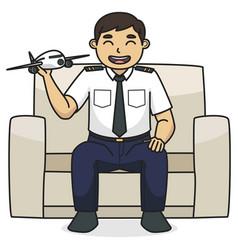 dad pilot character children book vector image