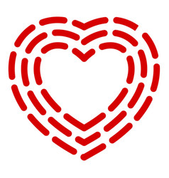dashed line heart icon simple style vector image