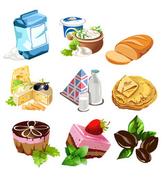 Desserts dairy products coffee beans and other vector