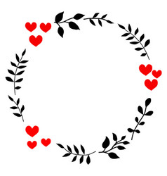Doodle heart and leaf circle frame vector