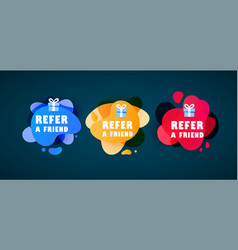 Doodle speech bubbles with refer a friend message vector