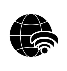 Earth globe diagram and wifi signal icon vector