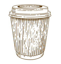 Engraving takeaway cup vector