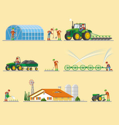 Farming elements collection vector