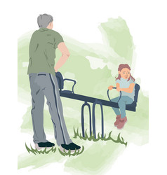 Father in gray pants green shoes and t-shirt vector