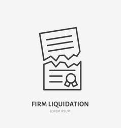 Firm liquidation flat line icon agreement vector