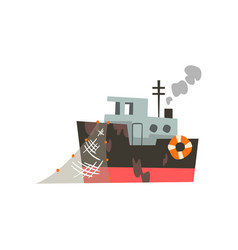 fishing industrial trawler for seafood production vector image
