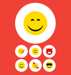 flat icon face set of party time emoticon pouting vector image