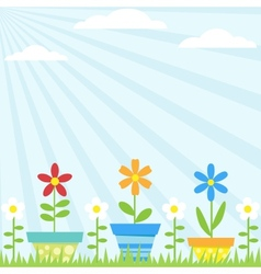 Flower pots background vector