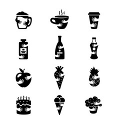 food and drinks negative space icons set hot vector image
