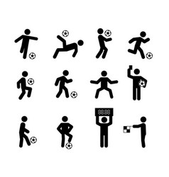 Football soccer player actions poses stick figure vector