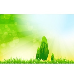 Fresh green grass with yellow bokeh vector