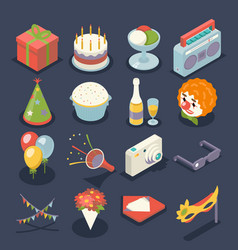 fun birthday party event celebrate night icons and vector image vector image