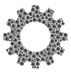 gear mosaic of network icons vector image