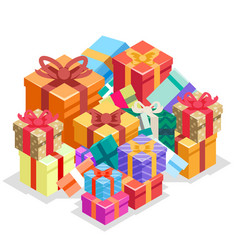 gift box pile isolated object isometric 3d icon vector image