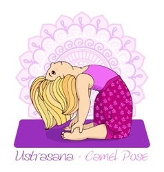 Girl in Camel Pose with mandala background vector