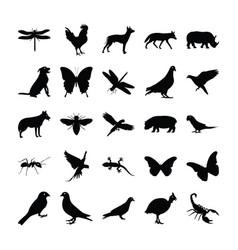 Glyph animals vector