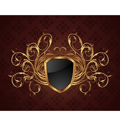 golden ornate frame with shield - vector image