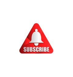 Graphic subscribe red button with bell sign vector
