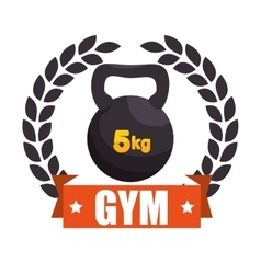 Gym sport kettlebell label graphic vector