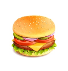 Hamburger Realistic Isolated vector image