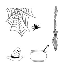 Hand drawn halloween scary icons or elements vector