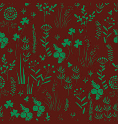 Hand drawn seamless pattern with wildflowers vector