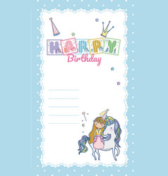 Happy birthday card for little girl vector