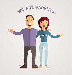 Happy Family - Young Parents Flat Design vector