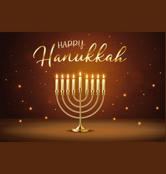 happy hanukkah greeting card with gold inscription vector image