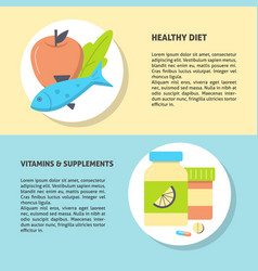 healthy food and vitamins concept flyer template vector image