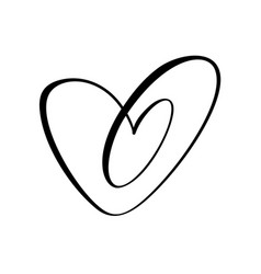 Heart two black sign icon on white background vector