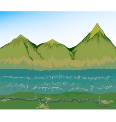 High tide sea with mountain vector