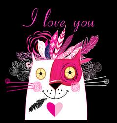 In love cat vector